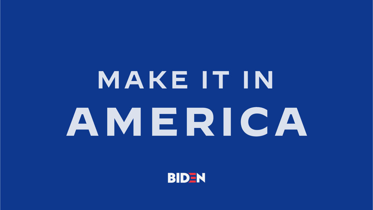 American workers can out-compete anyone, but they need a government that fights for them. I'll revitalize American manufacturing — especially smaller manufacturers and those owned by women and people of color — and ensure the future is made here in America.