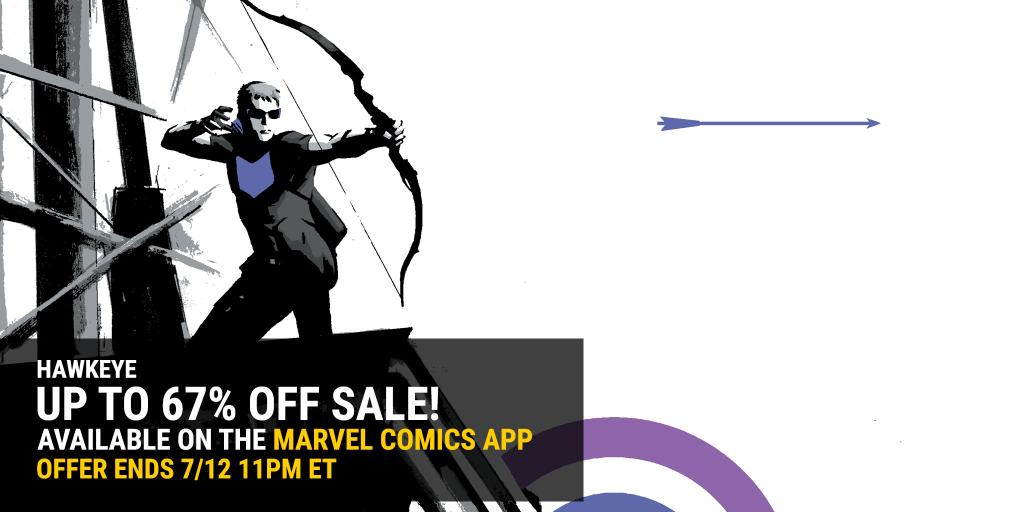 Take aim. 🏹 Hawkeye stories are on sale now in the Marvel Comics App.