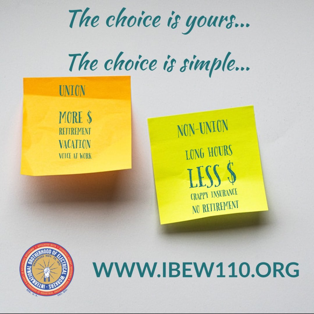 The choice is simple...@IBEW @MNBldgTrades #union #electricians #organize