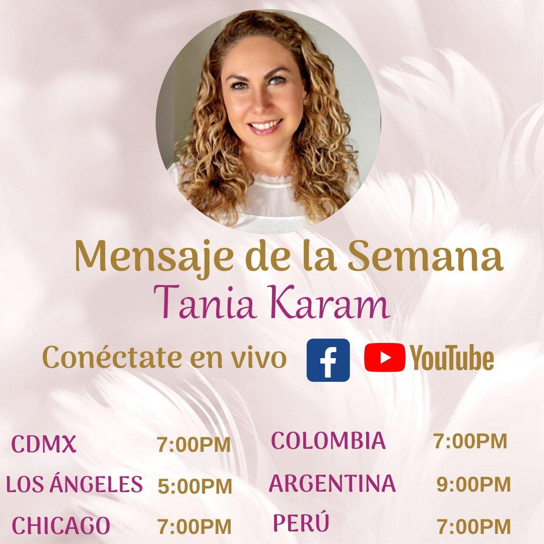 ¡Hoy será día de transmisión en vivo! Los espero para entregarles el mensaje de la semana a las 7:00pm tiempo de la CDMX por: Facebook:  Youtube:   #taniakaram #comparte #angeles #mensajedelasemana #quedateencasa #facebook #youtube