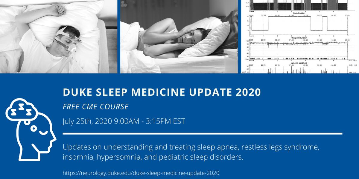 #Duke_Sleep has organized a free Sleep Medicine Update seminar with CME for docs, APPs, trainees, technologists, anyone interested in #sleep on July 25. Info:  Join us, and spread the word! @Duke_Neurology @SleepJunkies @project_sleep @TheSleepCouncil