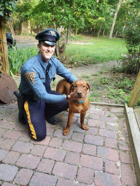 Trooper Theodore Heim swam to this drowning #dog and pulled him to safety after responding to a 9-1-1 call.  Now he's got a new #friend! For story, go to  #WednesdayMotivation #WednesdayVibes