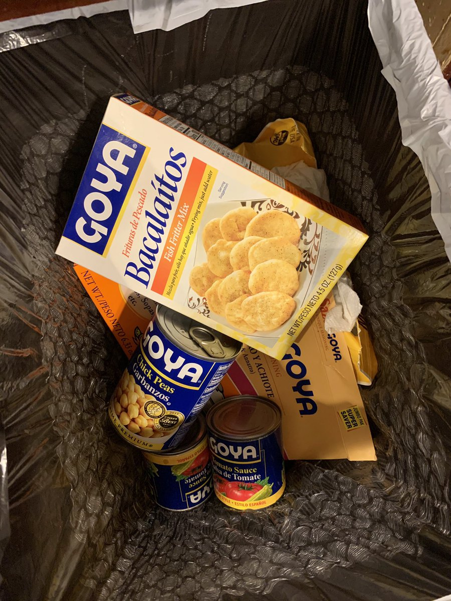 My husband @RobertCooper58 is Cuban and he's been cooking with @GoyaFoods for as long as I can remember — but no more. We just cleaned out our pantry closet and threw out EVERY one of their products. Adios, Goya!!  #BoycottGoya