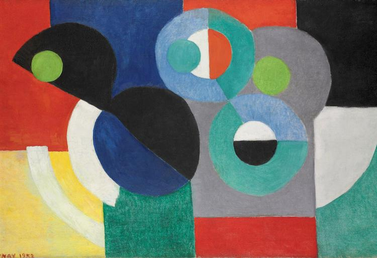 Rythme colore, 1952 by Ukrainian-born painter and designer Sonia Delaunay, painted in Orphism style, an offshoot of Cubism that focused on pure abstraction and bright colours #womensart