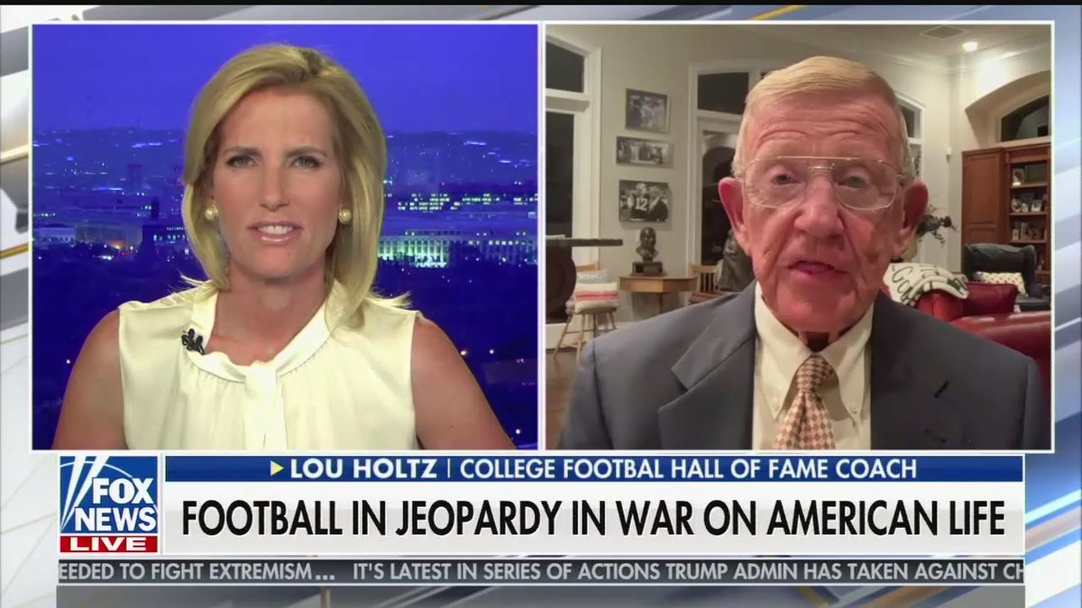Not sure what's worse, having these two decide whether sports are safe to play instead of any actual expert, or that the chyron is more worried a metaphorical war on American life than the actual hundred thousand plus American lives that have been lost.