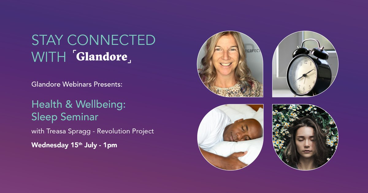 Let's join Treasa Spragg of the Revolution Project for a lunchtime webinar on sleep. We'll explore how you sleep and wake up energised, and most importantly your nightly sleep.  #Glandore #GlandoreNetwork #GlandoreVirtualEvents #Sleep   Register Here: