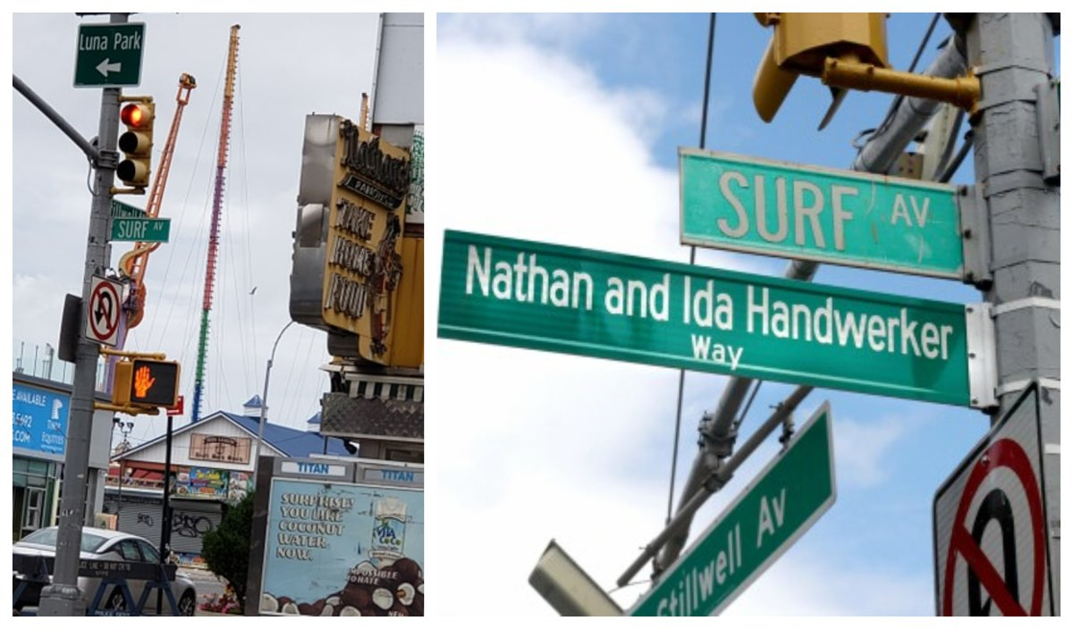 On Surf Ave in front of @originalnathans, street sign honoring Nathan & Ida Handwerker Way is so popular it's missing again! We reported it to @NYC_DOT for replacement as we did in 2017, 2018 and 2019. Thanks to Coney Island resident Bruce Sherman for the alert and photo on left.