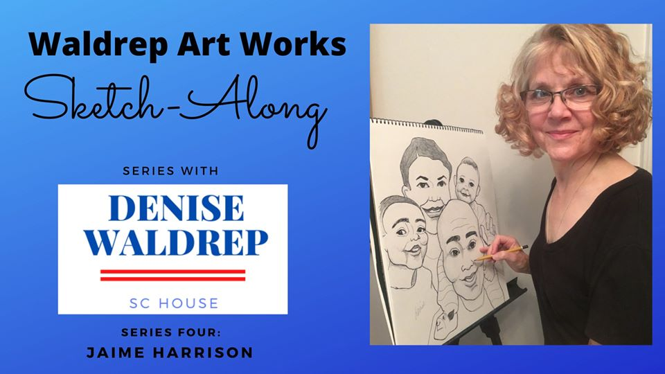 Join @WaldrepDenise, candidate for SC House District 13 in #GreenwoodSC, and special guest @harrisonjaime, candidate for US Senate, for a virtual sketch-along fundraiser, Mon, Jul 13, 7 pm! #SCPol #TurnSCBlue  RSVP here: