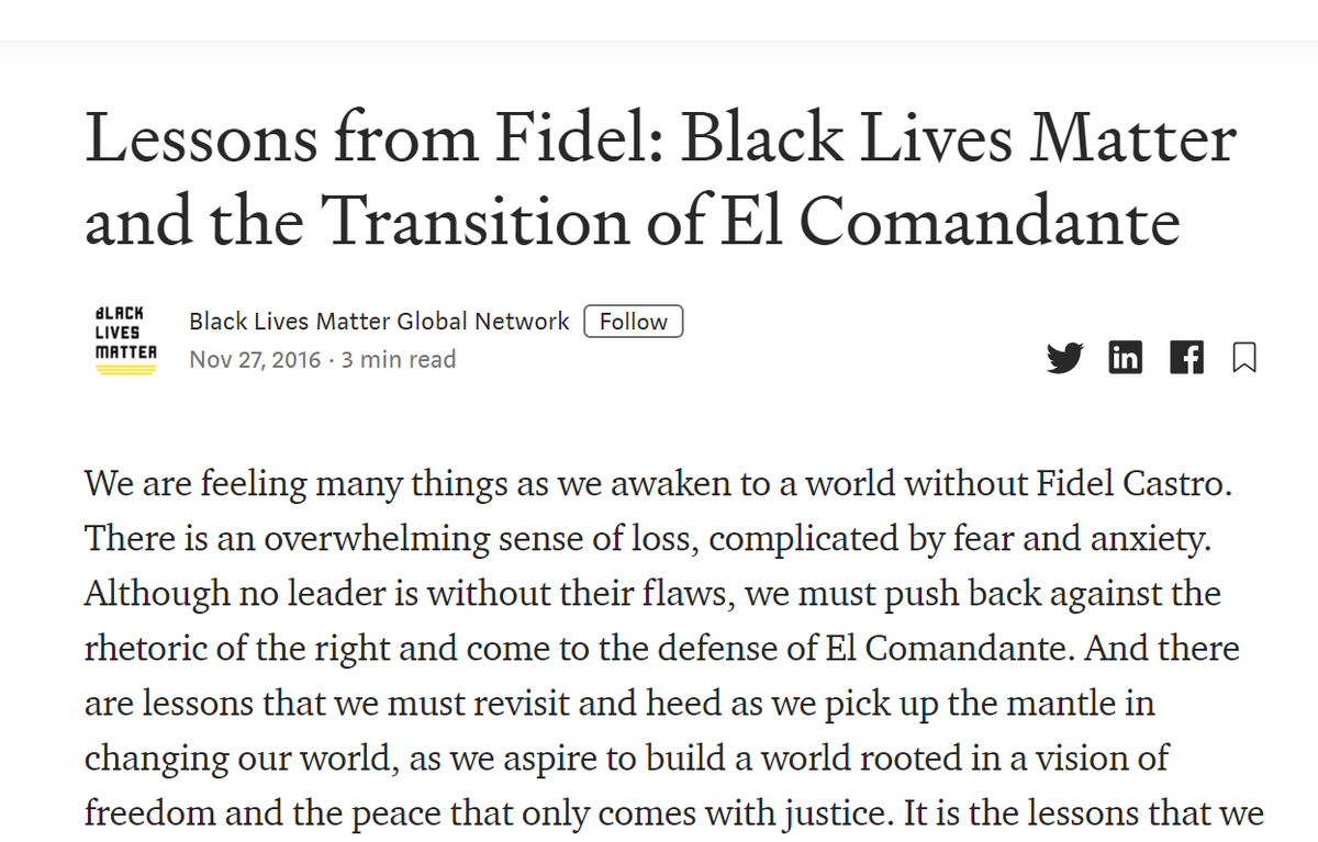 Did You Know:   When Fidel Castro died, BLM published a eulogy to 'come to the defense of El Comandante'     'There are lessons that we must revisit and heed as we pick up the mantle in changing our world'