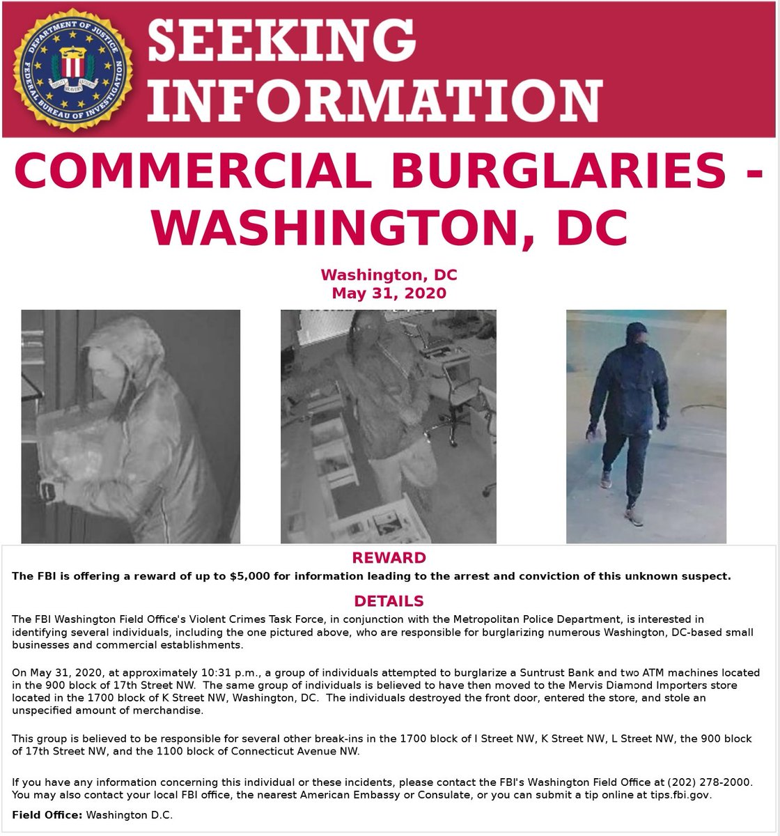 #FBIWFO is also offering a reward of up to $5K for info leading to the arrest & conviction of this unknown suspect, responsible for the same burglaries on the evening of May 31st. If you have info on either individual, call #FBI at 202-278-2000. #Wanted