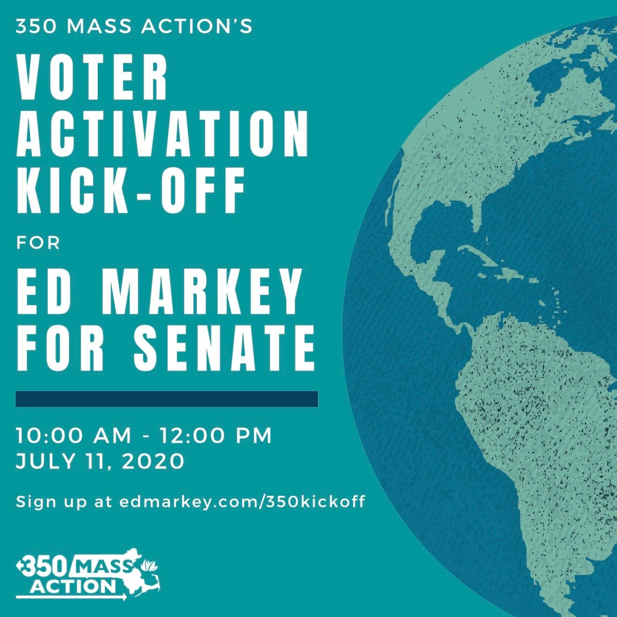 The time to take bold and aggressive action against the climate crisis is now. Join @350MassAct and me tomorrow for a voter activation kick-off and help us organize to win. Sign up at  🌍