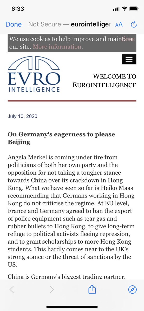 """. @brianstelter's pushing of Communist China's messages is very concerning.   This warning from Europe highlights his sloppy tweets:  """"Angela Merkel is comingunder fire from politicians of both her own party and the opposition for not taking a tougher stance towards China..."""""""
