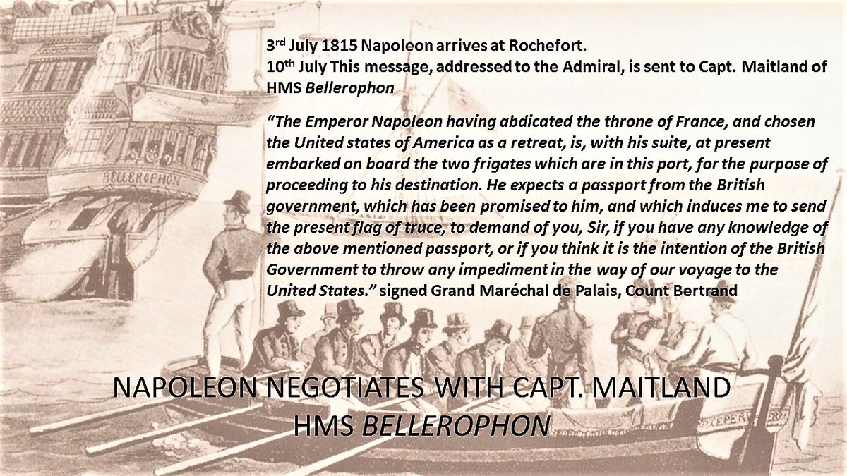 10th July 1815 #Napoleon's letter to Admiral via Capt Maitland of HMS Bellerophon. He hopes to go to America 'as a retreat' but instead is exiled to remote #StHelena. What happened next?  THE COUNTESS, NAPOLEON AND ST HELENA 🇺🇸 🇬🇧