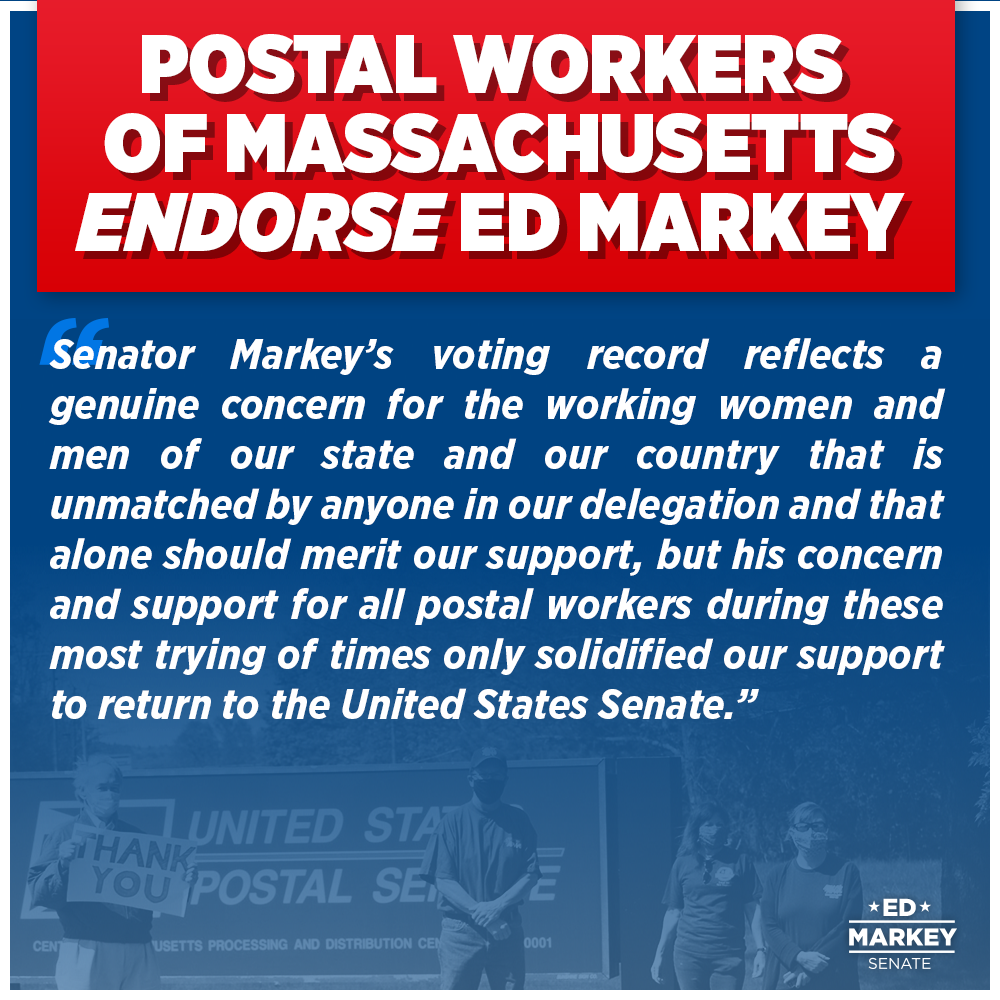 I'm fighting in the Senate to protect the USPS from Donald Trump and to secure postal workers the proper compensation, PPE, and health care that they deserve. Today, I am proud to announce that our campaign has earned the support of these dedicated, essential workers.