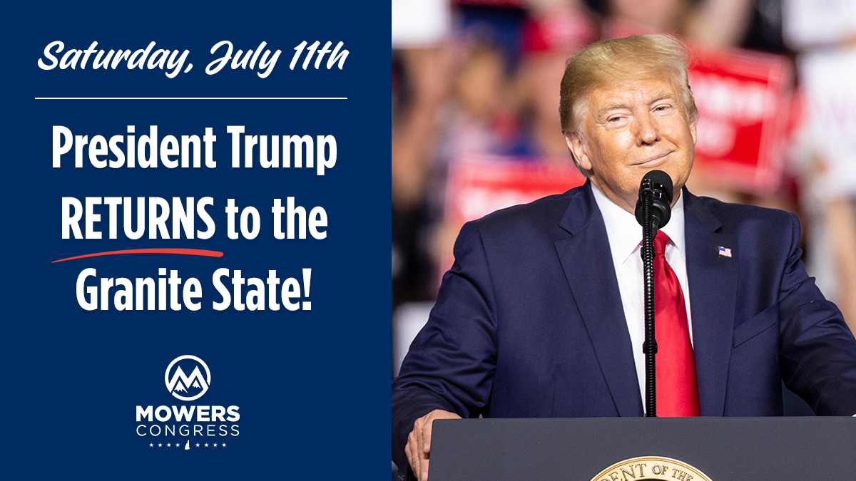 Excited to welcome @realDonaldTrump back to #NH01 tomorrow night!   Get your tickets here 🇺🇸:  #nh01 #nhpolitics