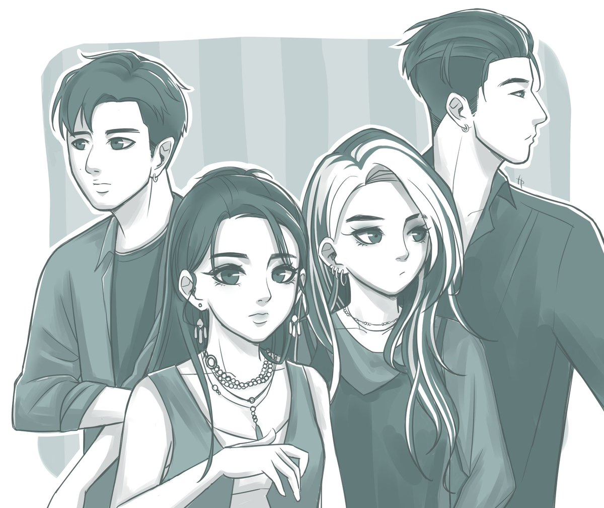 Long time no ot4😭 #KARD #BM #JSeph #Somin #Jiwoo #doodle