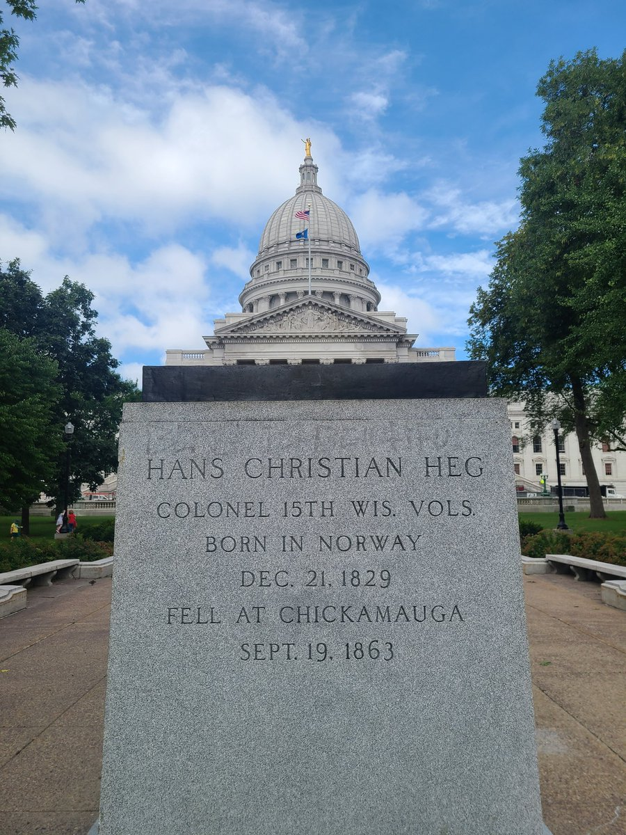"""For 95 years, a statue of Hans Christian Heg stood here in Madison, Wisconsin.   He was an immigrant, abolitionist, and Union soldier who died fighting to end slavery.   Then a """"woke"""" mob ripped it down and threw it in a lake."""