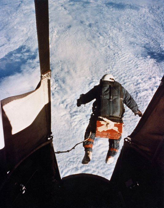 This is Colonel Joseph Kittinger stepping from a balloon-supported gondola at the altitude of 102,800 feet (31.3 km) on August 19, 1960. In freefall for 4.5 minutes at speeds up to 714 mph (1,149 km/h) he opened his parachute at 5.5 km