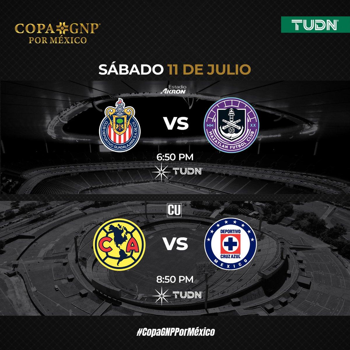 ¿Extrañabas los sábados de fútbol? ⚽ Disfruta de la #CopaGNPPorMéxico por #TUDN 🏆  📆Sábado 11   🐐 @Chivas 🆚 @MazatlanFC ⚓️   🦅@ClubAmerica 🆚 @CruzAzulCD 🚂   📺 @TUDNMEX | @Canal_Estrellas