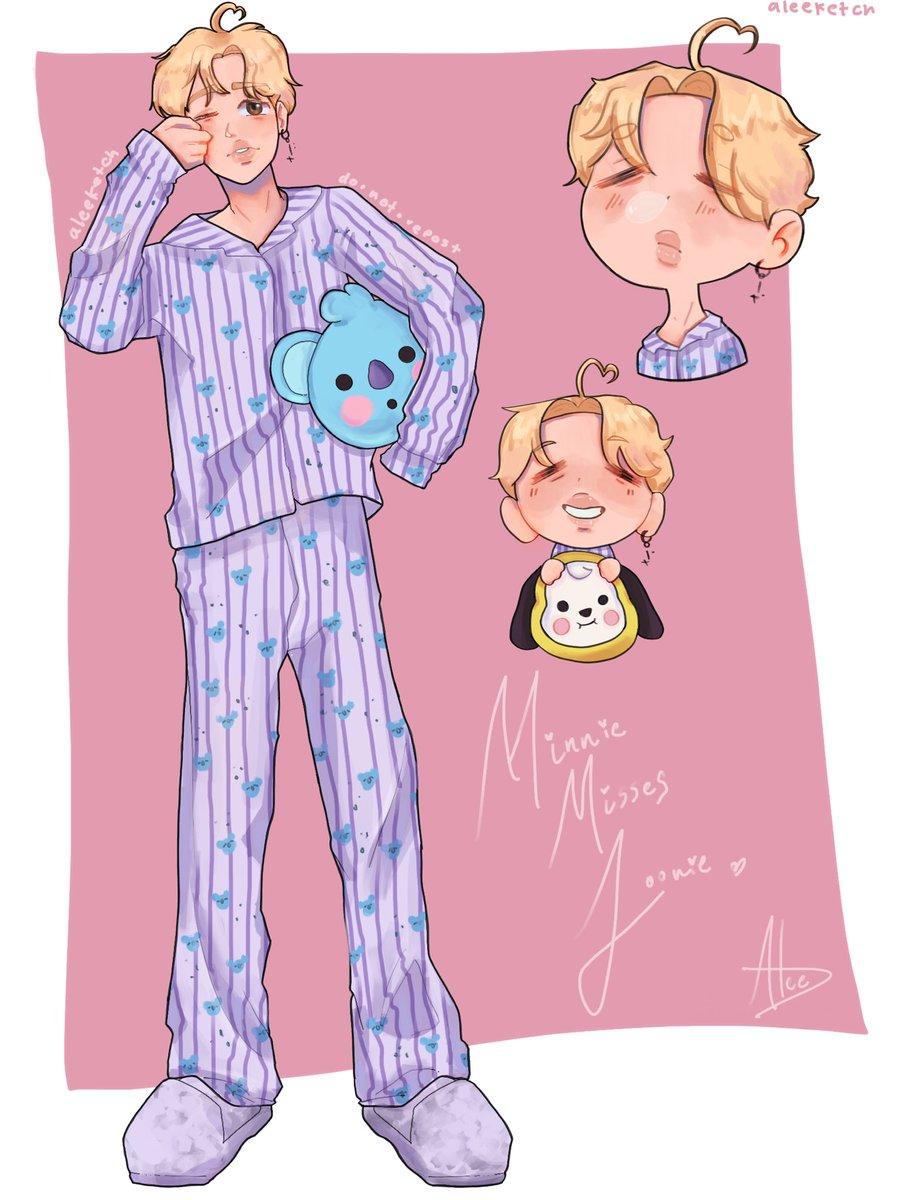 Minnie hates waking up earlier, but he hates even more waking up early and not seeing jonnie next to him :( #JIMINfanart #JIMIN #BTSJIMIN #jiminbts #minjoon #Minjoonfanart #BT21 #KOYA