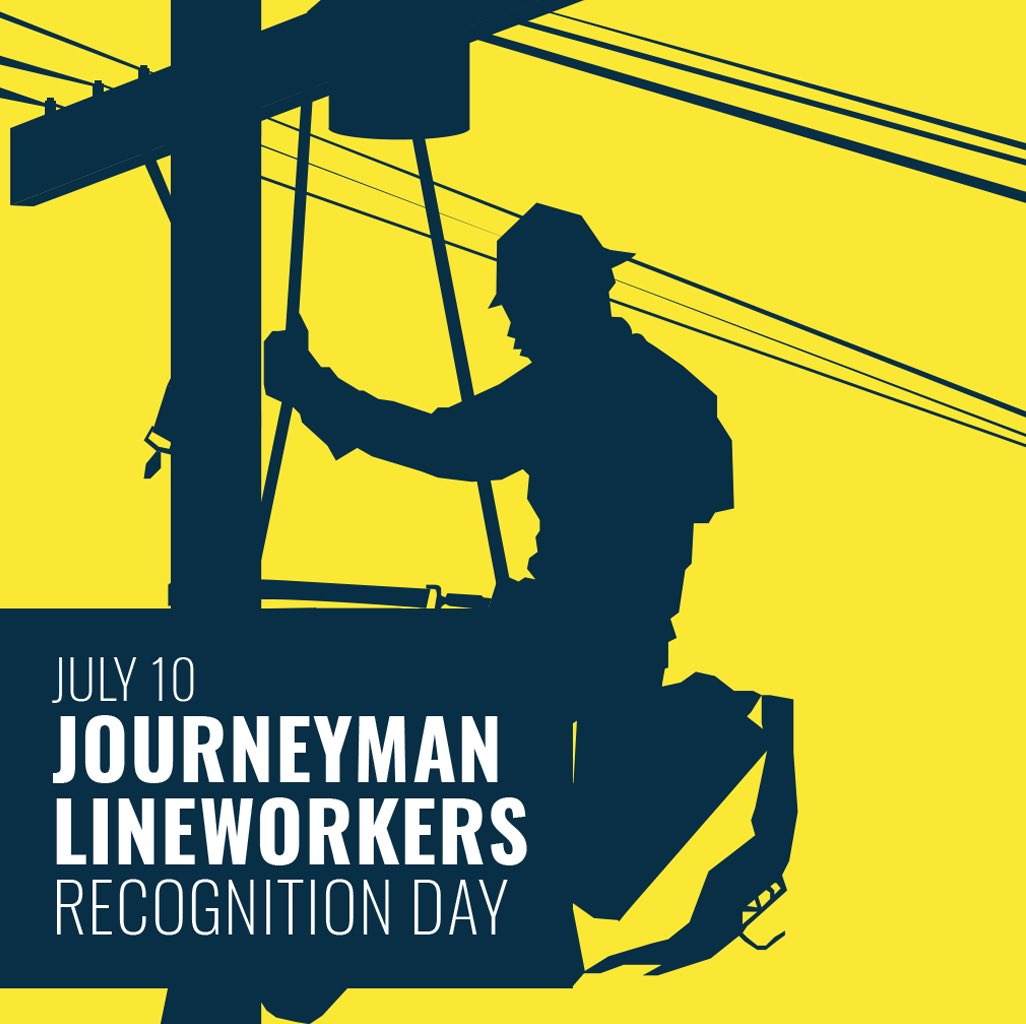 Many of us take for granted that when we flip a switch the lights turn on in our homes.   I'm proud to support a resolution recognizing July 10 at #LineworkerDay.   These brave men and women put themselves in harm's way to ensure that we all have reliable access to electricity.