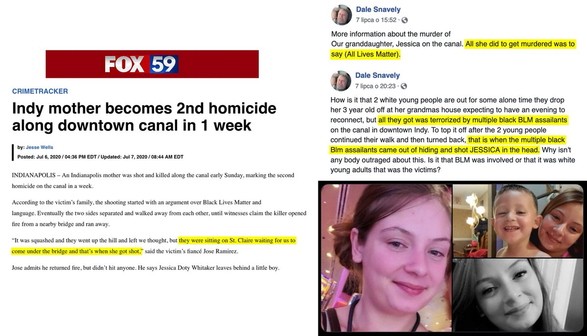 """Jessica Doty Whitaker, a 24-year old home health nurse and mother, was gunned down in Indianapolis. According to her grandfather, she said """"All lives matter"""" and then got murdered for it by multiple black BLM assailants."""