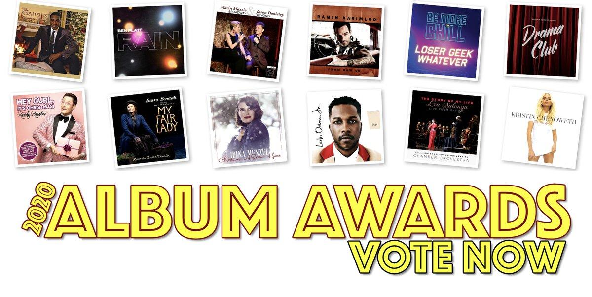 Vote today for the 2020 Album Awards! Nominees for Best EP include @BenSPLATT @leslieodomjr @MrJoeIconis @raminkarimloo @idinamenzel @KChenoweth @leslieodomjr @RandyRainbow @Matt_Morrison @LauraBenanti @normlewis777 and more!  Vote here:
