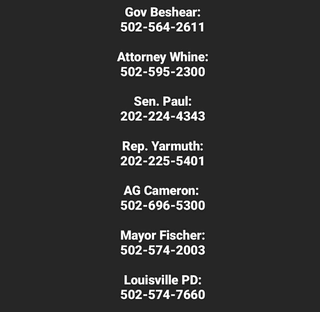 add calling these numbers and demanding the arrests of the officers who killed Breonna Taylor to your morning routine:
