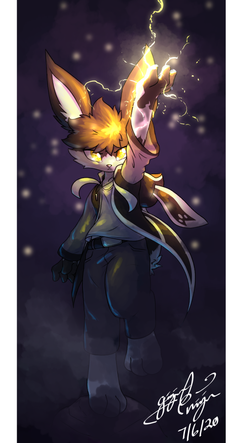 Get ready for a shocking experience!  Thank you to @Shurishy for commissioning this 1 hour speed paint of their bunny! Was sujper fun and a cool challenge! Hope it was fun to watch! 💜  #Furry #Art #Commission #Anthro