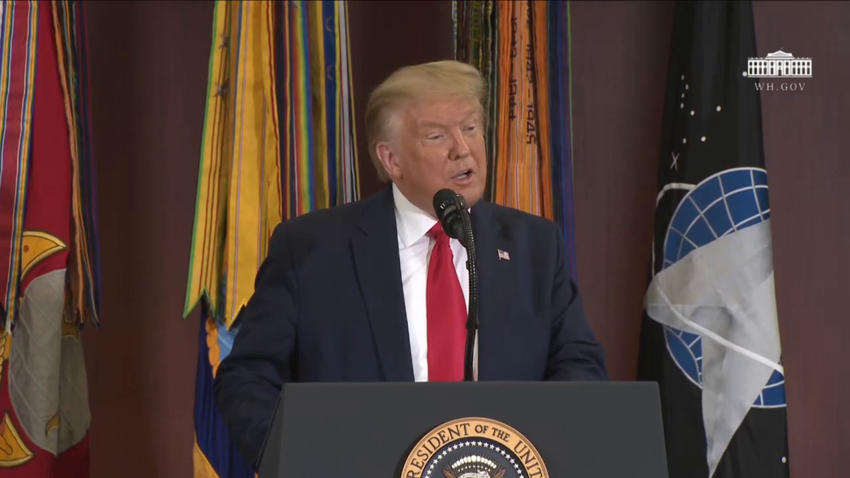 """""""I came to personally thank you for your valiant fight to defend our borders and take . . . these vile traffickers out of business,"""" President @realDonaldTrump told @Southcom."""