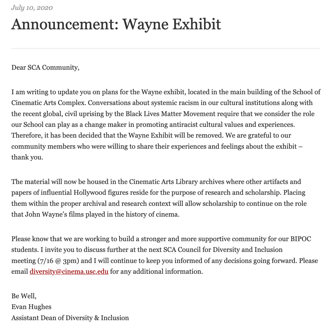 Announcement concerning the John Wayne exhibit: