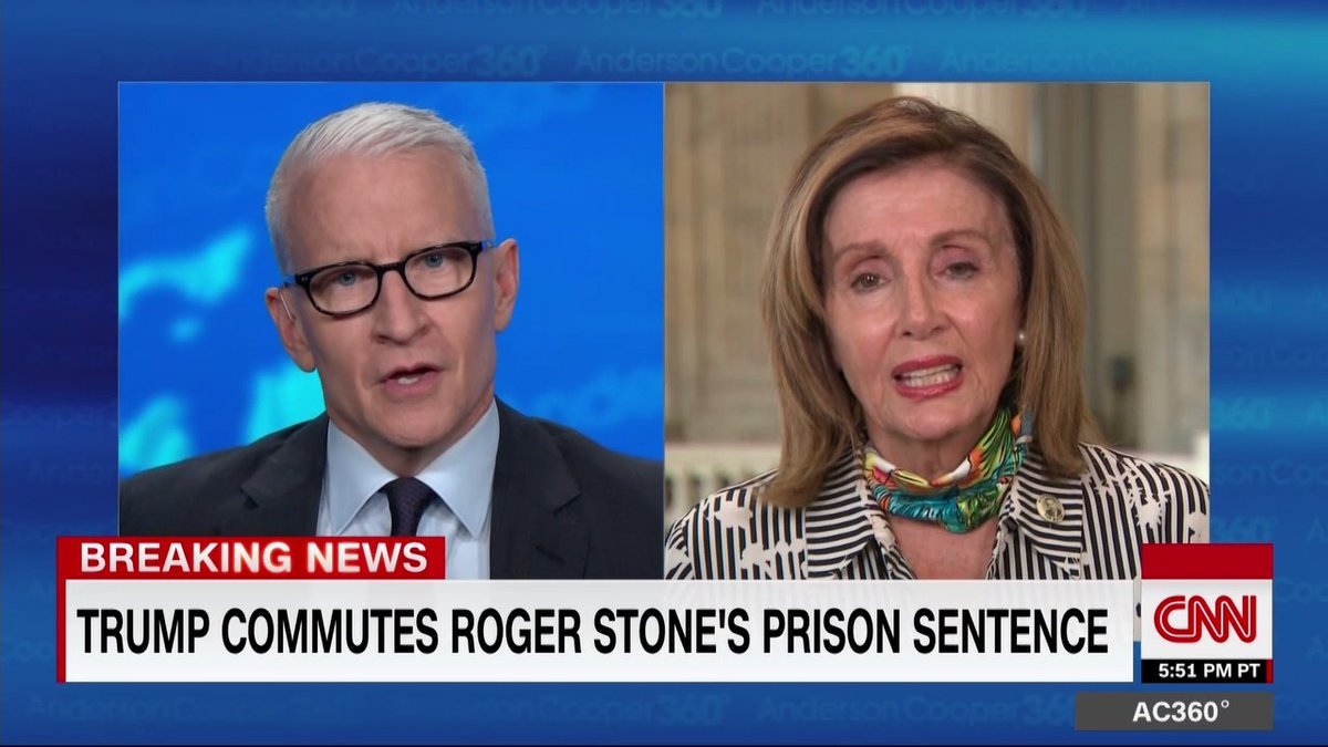 "House Speaker Nancy Pelosi on Trump commuting Roger Stone's sentence: ""I'm recommending that we pass a law that presidents cannot issue a pardon if the crime that the person is in jail for is one that is caused by protecting the President, which this was"""