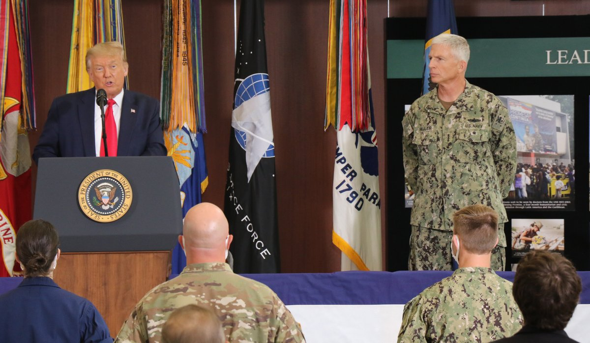 #SOUTHCOM was honored to host @POTUS Donald J. Trump & @EsperDoD today for a briefing on the progress of enhanced counter narcotics operations in #LatinAmerica and the #Caribbean. #CounterDrugOPS #EnhancedCN @WhiteHouse @DeptofDefense