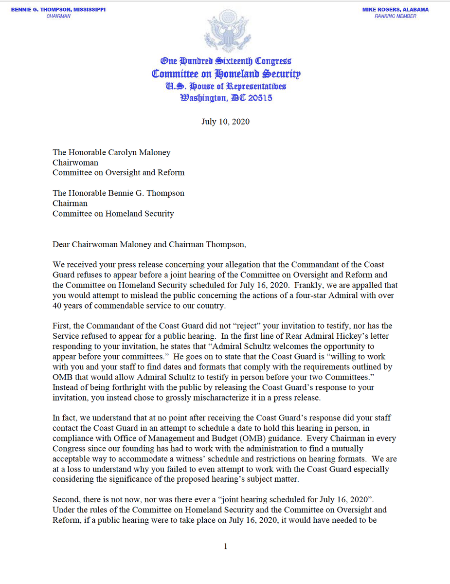 NEW: RM @RepMikeRogersAL & @GOPoversight RM @RepJamesComer respond to Chairwoman Maloney & Chairman Thompson's attempts to mislead the public concerning the appearance of the U.S. Coast Guard Commandant before a never-scheduled joint committee hearing.