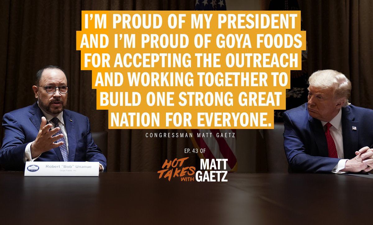 Thank you Goya for working with President @realDonaldTrump to build one strong great nation for everyone! @GoyaFoods