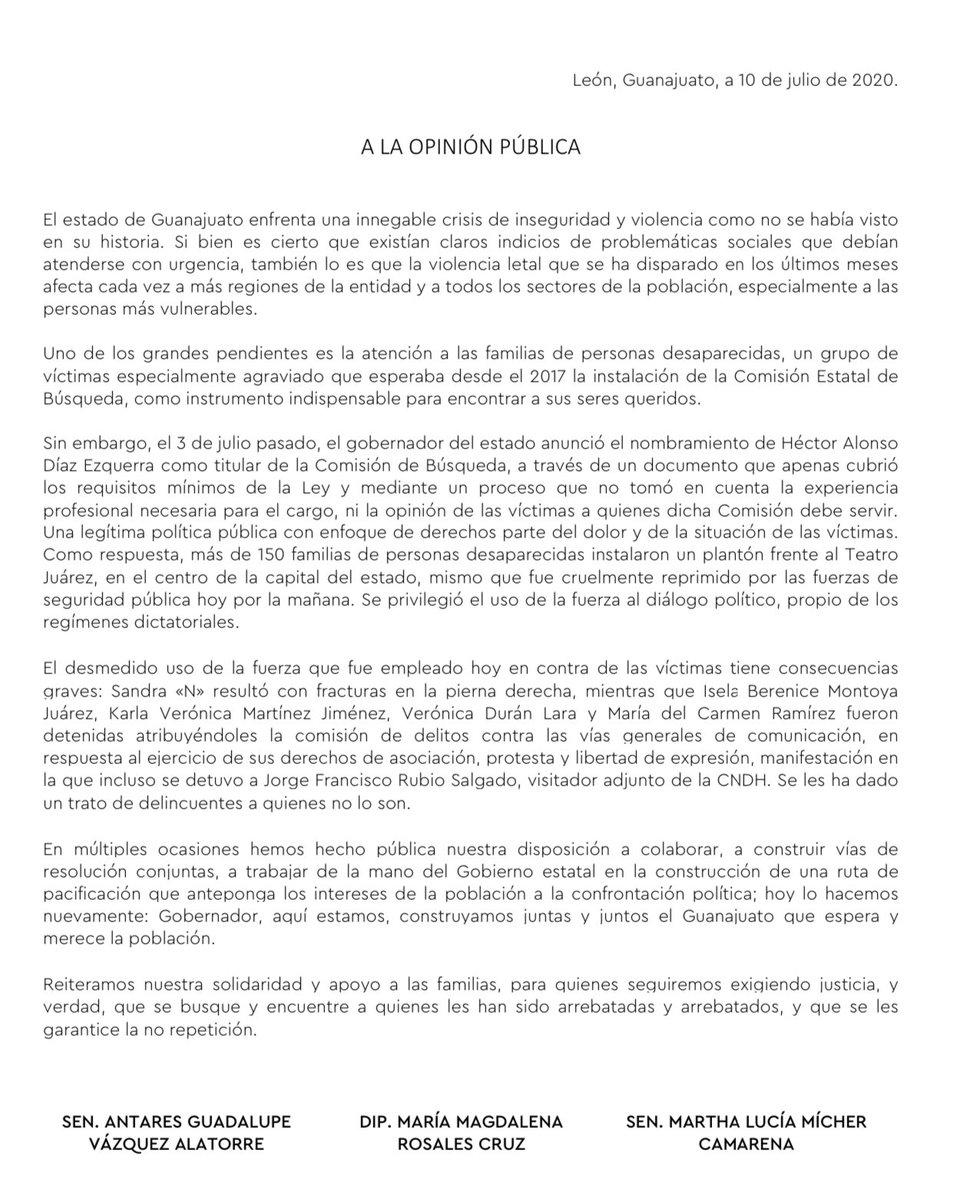 A la opinión pública #Guanajuato.   Reiteramos nuestra solidaridad y apoyo a las familias, para quienes seguiremos exigiendo justicia.  No están solas.   @SembrandoComun1 @MaluMicher @magdarosalescr   #YoConlasFamiliasDeGto