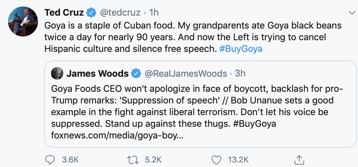 When Ted refuses to buy your product: peaceful protest, marketplace of ideas. When you don't buy Ted's beans: cancel culture, attack on free speech.