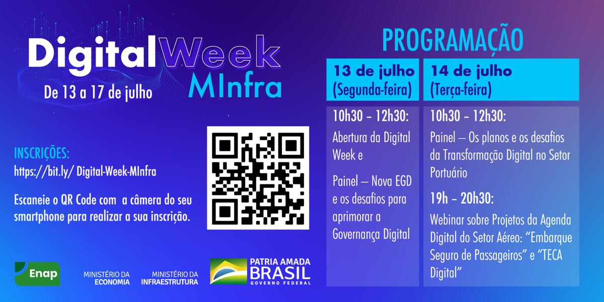 A programação do Digital Week MInfra está imperdível! 😍 O evento acontece de 13 a 17 de julho, com cinco painéis e dois webinários sobre transformação digital. Não perca tempo e faça sua inscrição pelo link: