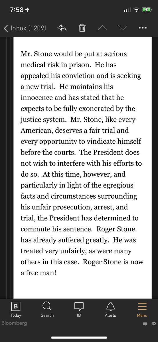 """kicker on @PressSec announcement of commutation: """"Roger Stone is now a free man!"""""""