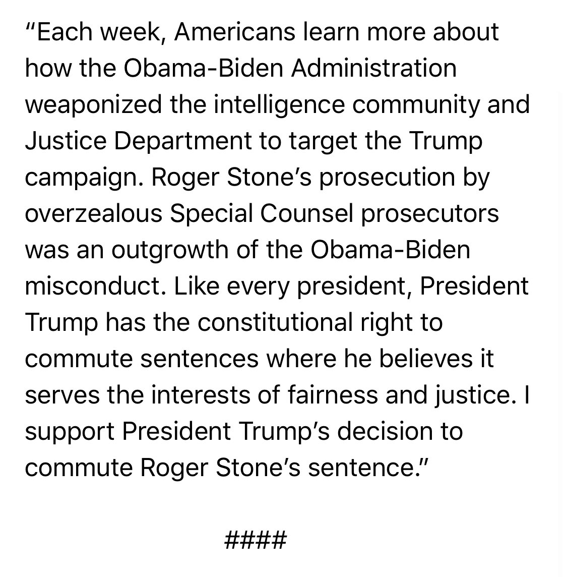 🚨#BREAKING: Read Ranking Member @Jim_Jordan's statement on President Trump's decision to commute Roger Stone's sentence.
