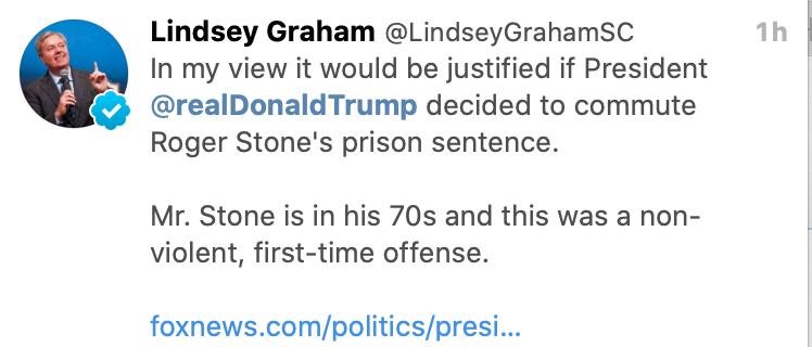This was definitely not Roger Stone's first offense  Also Lindsey Graham is the wormtongue motherfucker I always said he was.