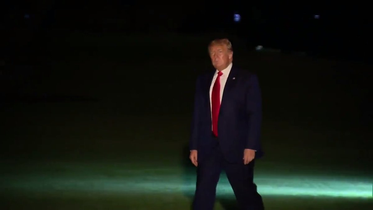 LAST NIGHT: President Trump returns to the White House from Joint Base Andrews.