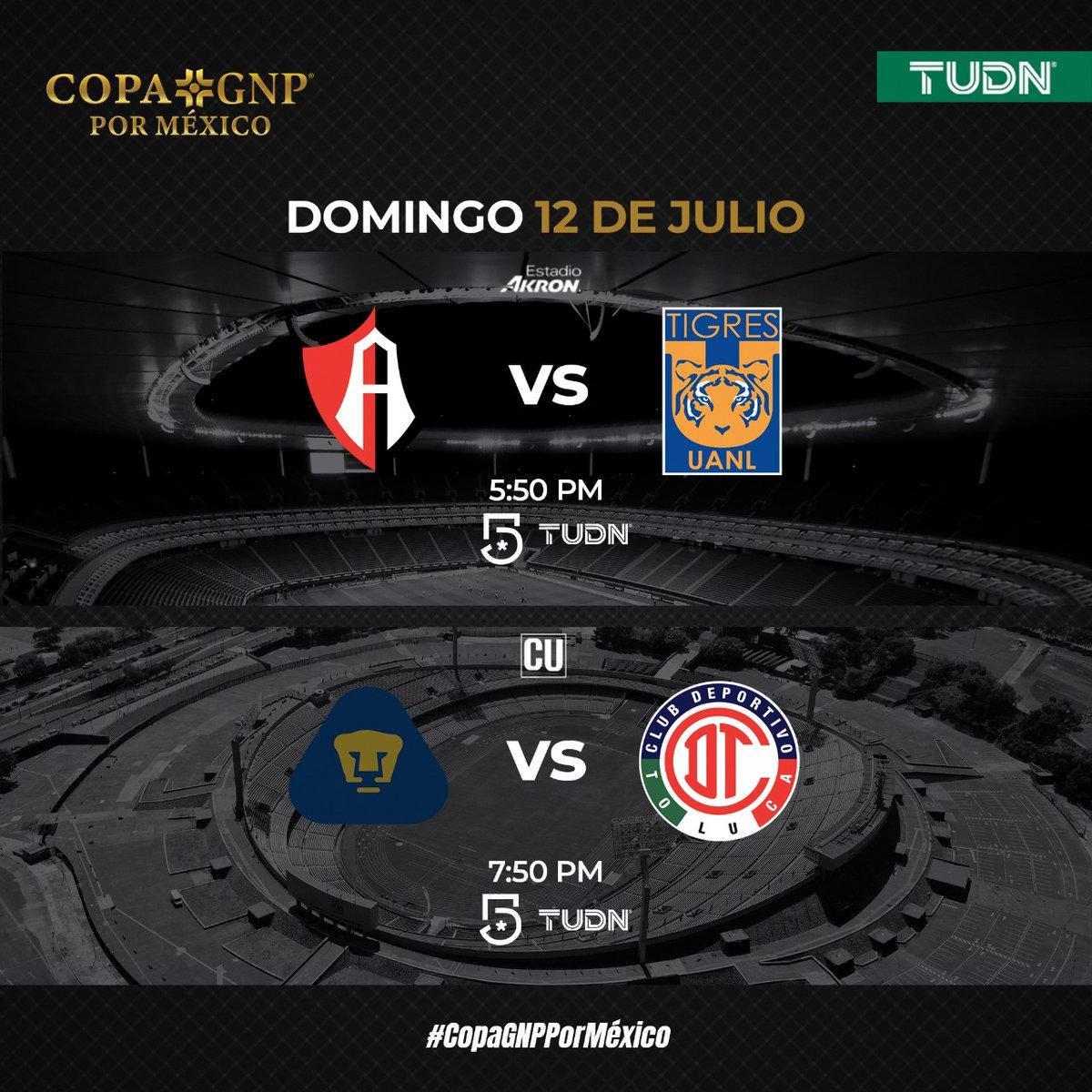 Disfruta la #CopaGNPPorMéxico por #TUDN 🏆   📆Domingo 12   🦊 @atlasfc 🆚 @TigresOficial 🐯  @PumasMX 🆚 @TolucaFC 👿    📺 @TUDNMEX  | @MiCanal5