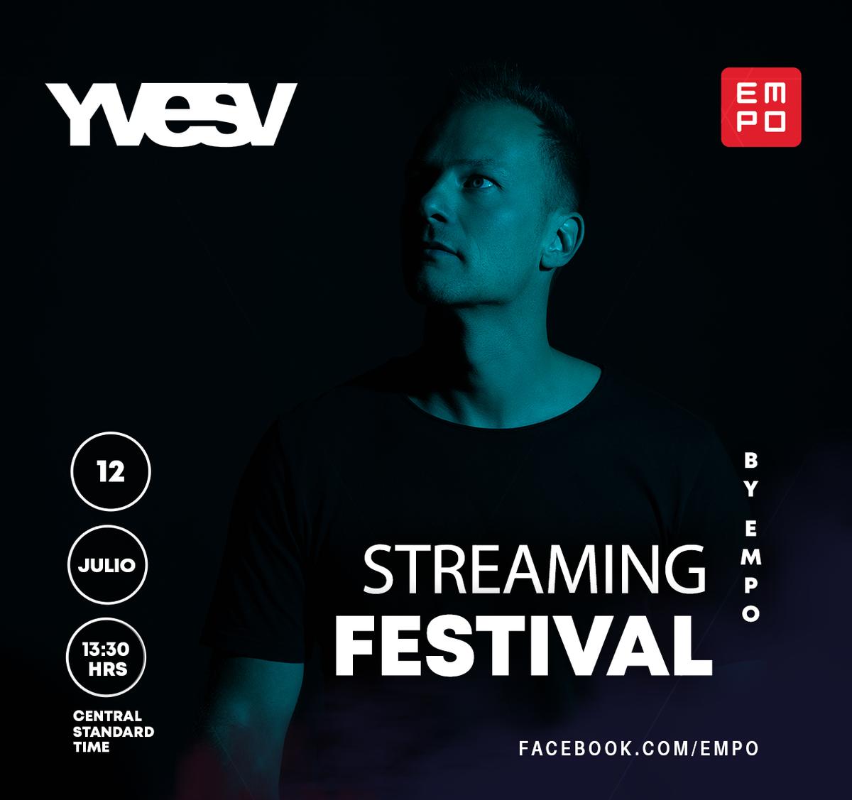 Estamos a 1 DÍA del #StreamingFestivalByEMPO con @yvesv 💥 ¿Listos para vivir la emoción de un festival? 🖥 Sintonízalo a través de nuestra página de Facebook 👉