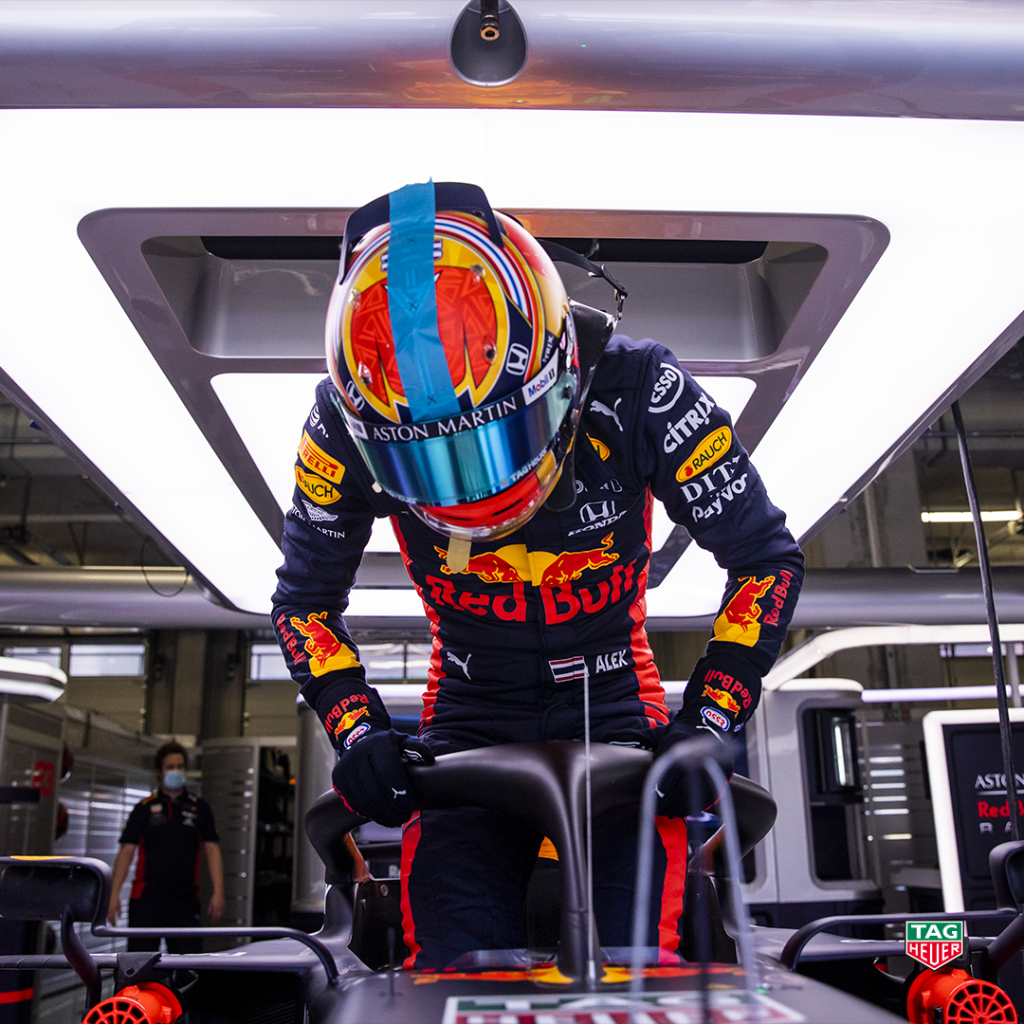 Time for a rematch!   Buckle up as we watch Aston Martin @redbullracing drivers @Max33Verstappen and @alex_albon charge their opponents at the #AustrianGP. Go bulls! #ChargeOn #DontCrackUnderPressure