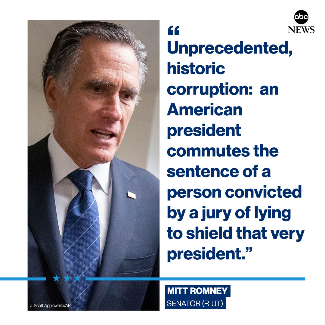 """Unprecedented, historic corruption.""  Republican Sen. Mitt Romney condemns Pres. Trump's commutation of longtime ally Roger Stone's sentence."