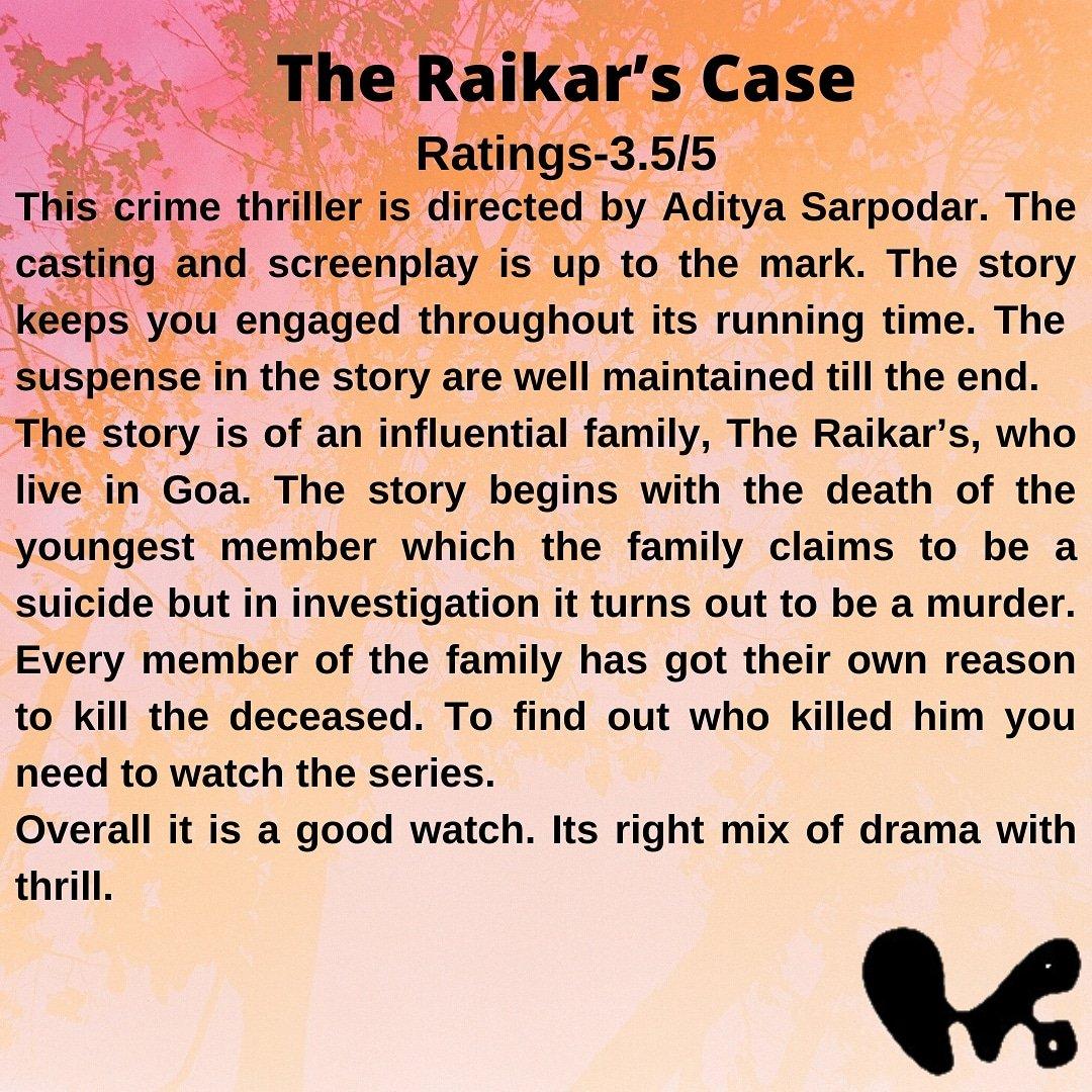 Review for: The Raikar's Case Watch it on: @VootSelect   #voot #vootoriginals #theraikarcase #theraikarcasevootreview #family #thriller #drama #goa #atulkulkarni #ashwinibhave #parulgulati #madhavinimkar #kunalkarankapoor #mohitnaikraikar #kunalasmohit @kunalkkapoor