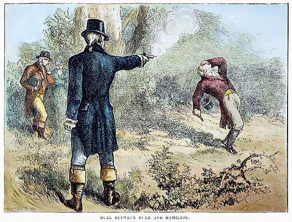 #OnThisDay in 1804, Aaron Burr mortally wounds Alexander #Hamilton in a duel in Weehawken, New Jersey.