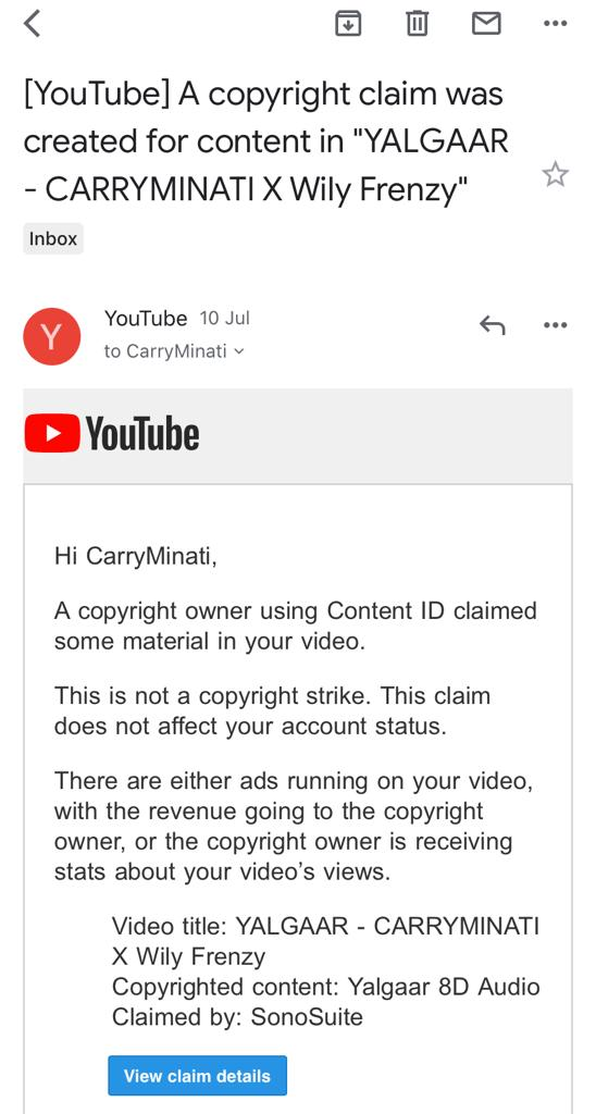 """This is an appreciation post about @YouTubeIndia .Your system is the best! I got a copyright claim from someone else for my own song """"Yalgaar"""" on the original track video and on my latest video. I truly appreciate someone else & you taking the revenue. 🤗🤗"""