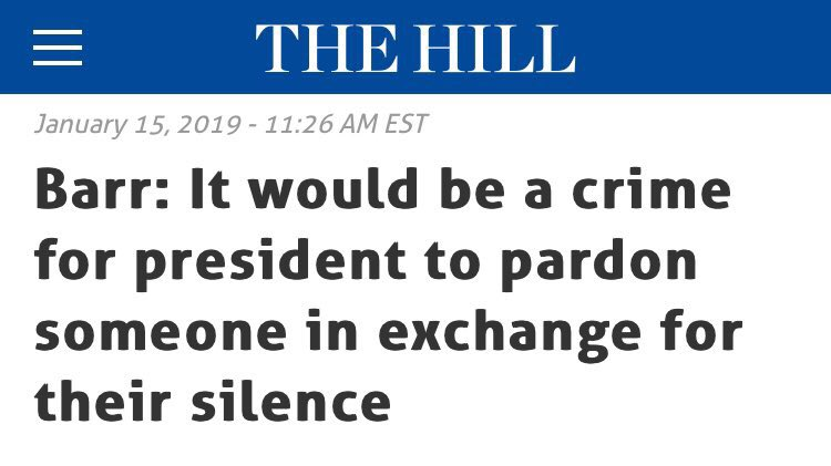@SpeakerPelosi Speaker:  AG Barr said it's a crime for @potus to pardon someone in exchange for their silence.  Please ask Barr when he'll be arresting Trump.  #RogerStone • #TRE45ON